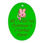 Christmas Oval Ornament. Puck Bunny.
