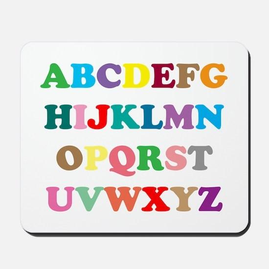 ABC text illustration Mousepad
