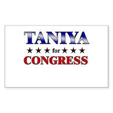 TANIYA for congress Rectangle Decal