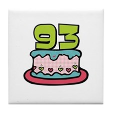 93rd Birthday Cake Tile Coaster