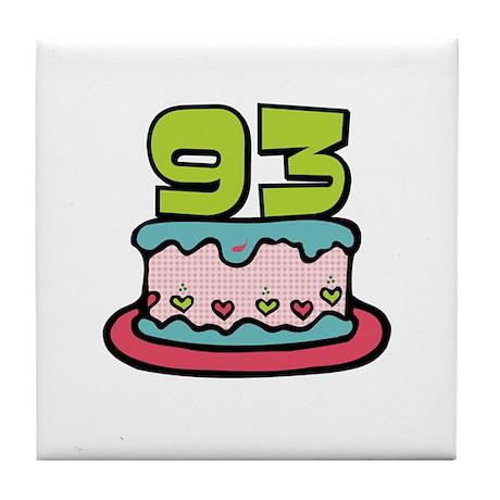 93rd Birthday Cake Tile Coaster