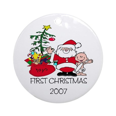 FIRST Christmas Santa & Baby Ornament (Round)