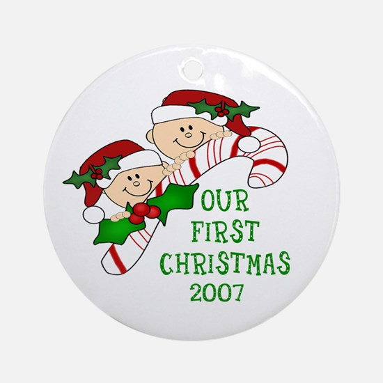 TWINS First Christmas Candy Cane Ornament (Round)