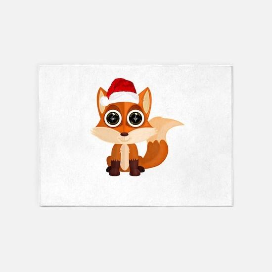 Christmas Fox 5'x7'Area Rug