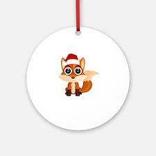 Christmas Fox Round Ornament
