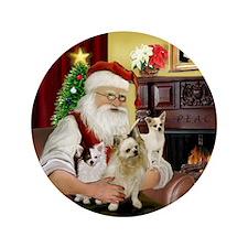 "Santa's 3 Chihuahuas 3.5"" Button"