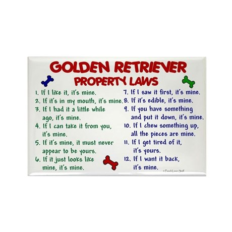 Golden Retriever Property Laws 2 Rectangle Magnet