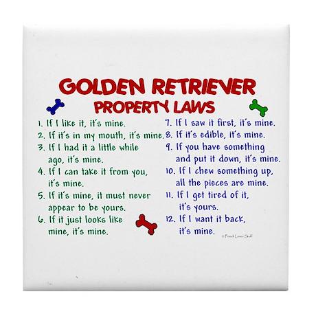 Golden Retriever Property Laws 2 Tile Coaster