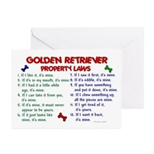 Golden Retriever Property Laws 2 Greeting Cards (P