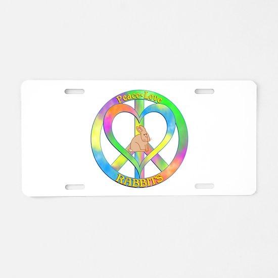 Peace Love Rabbits Aluminum License Plate