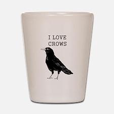 I Love Crows Shot Glass
