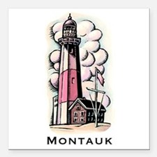 "The Montauk Lighthouse Square Car Magnet 3"" x 3"""
