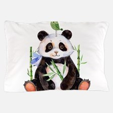 Cute Panda And a Bird Watercolors Pillow Case