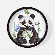 Cute Panda And a Bird Watercolors Wall Clock