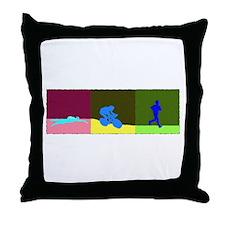 TRIATHLON TRIPTYCH PAINTING DARK Throw Pillow