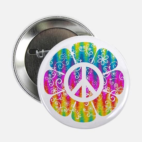 "Colorful Peace Flower 2.25"" Button"
