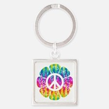 Colorful Peace Flower Square Keychain
