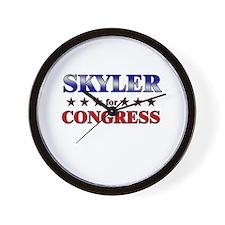 SKYLER for congress Wall Clock