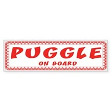 PUggle on Board red & white Bumper Bumper Sticker