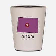 Colorado State Heart Shot Glass