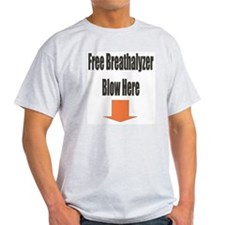 Free Breathalyzer Blow Here Ash Grey T-Shirt