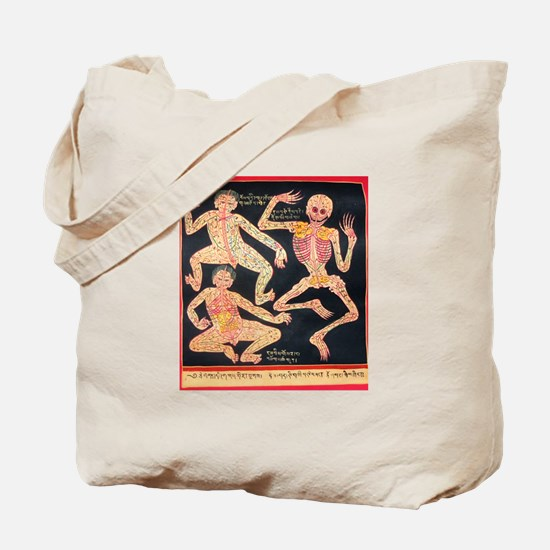 Tibetan Blood Vessel Chart Tote Bag