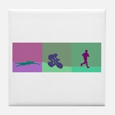 TRIATHLON SILHOUTTE WARM Tile Coaster