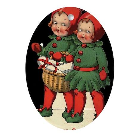 Christmas Holly Kids Oval Ornament