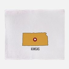 Kansas State Heart Throw Blanket
