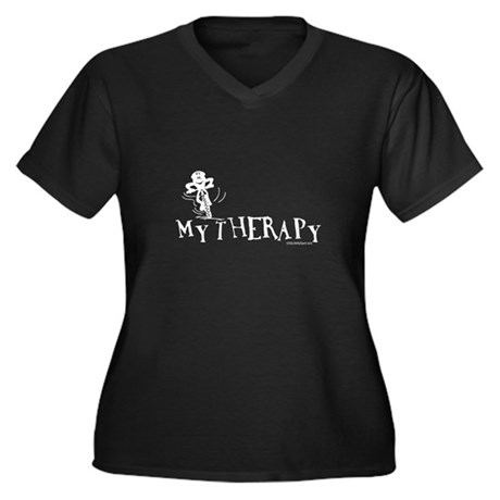 MY THERAPY Women's Plus Size V-Neck Dark T-Shirt