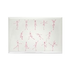 Dancing Figure Sketches - Pin Rectangle Magnet