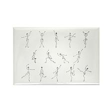 Dancing Figure Sketches - Bla Rectangle Magnet