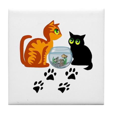 Fish Bowl Kittys Tile Coaster
