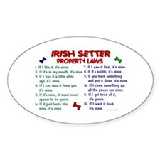 Irish Setter Property Laws 2 Oval Decal