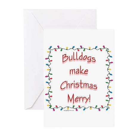 Merry Bulldog Greeting Cards (Pk of 20)