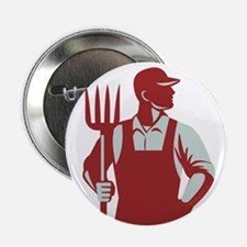 "Organic Farmer Pitchfork Retro 2.25"" Button (10 pa"