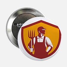 "Organic Farmer Pitchfork Crest Retro 2.25"" Button"