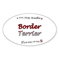 Border Terrier Breathe Oval Decal