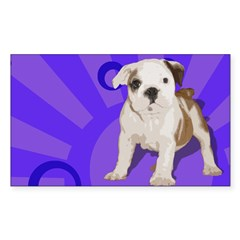 Bulldog Pup Rectangle Decal