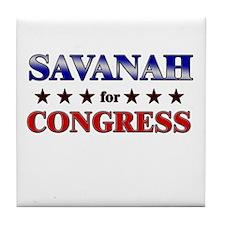 SAVANAH for congress Tile Coaster