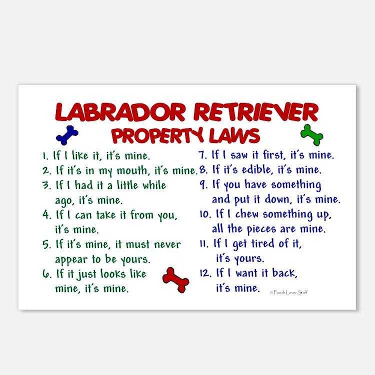 Labrador Retriever Property Laws 2 Postcards (Pack