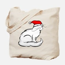 White Cat Santa Tote Bag