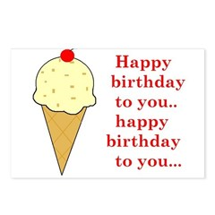 HAPPY BIRTHDAY (ICE CREAM) Postcards (Package of 8