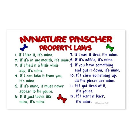 Miniature Pinscher Property Laws 2 Postcards (Pack