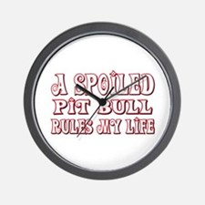 Spoiled Pit Bull Wall Clock
