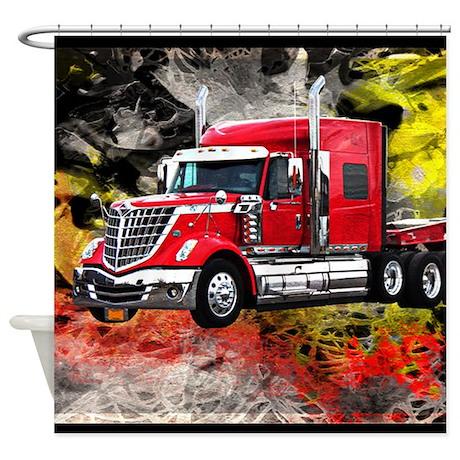 semi truck with bathroom. Big Truck  Red And Chrome Shower Curtain Semi With Bathroom 2007 Kenworth W900B ARI 120