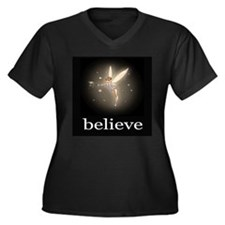 """Believe"" Women's Plus Size V-Neck Dark T-Shirt"