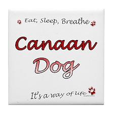 Canaan Dog Breathe Tile Coaster
