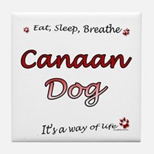 Canaan Dog Breathe Tile Coaster
