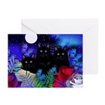 Black Cats Moon Greeting Cards (Pk of 10)